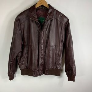 Vtg Burgundy Leather Bomber Jacket Sz 46